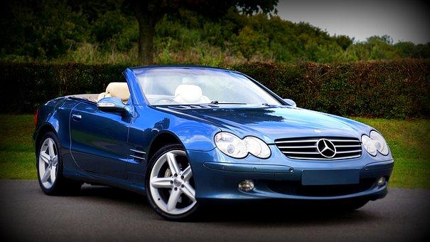 Blue Merceces Benz convertible car