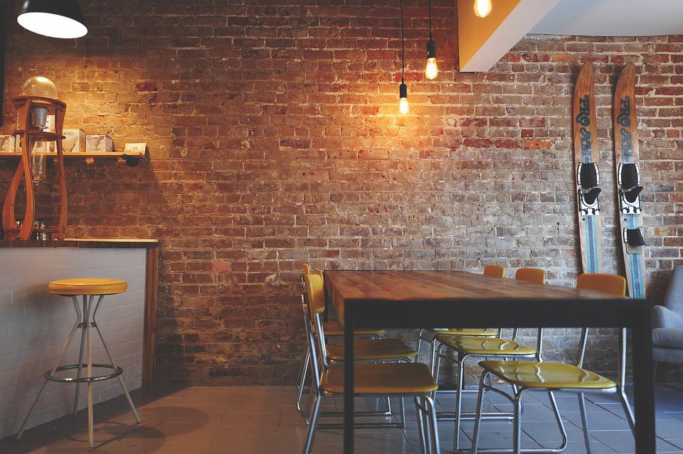 Brick Wall, Chairs, Furniture, Interior Design, Lights