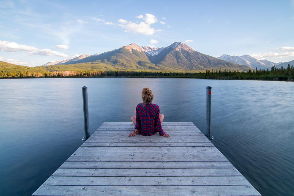 Jetty, Woman, Sitting, Relaxing, Dock, Lake, Landscape