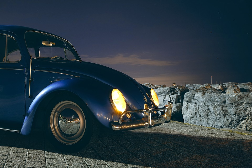 Car, Classic, Headlights, Night, Vehicle