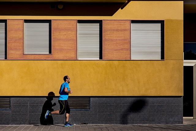 運動, ジョギング, 男, 人, 実行している, シャドウ, 歩道