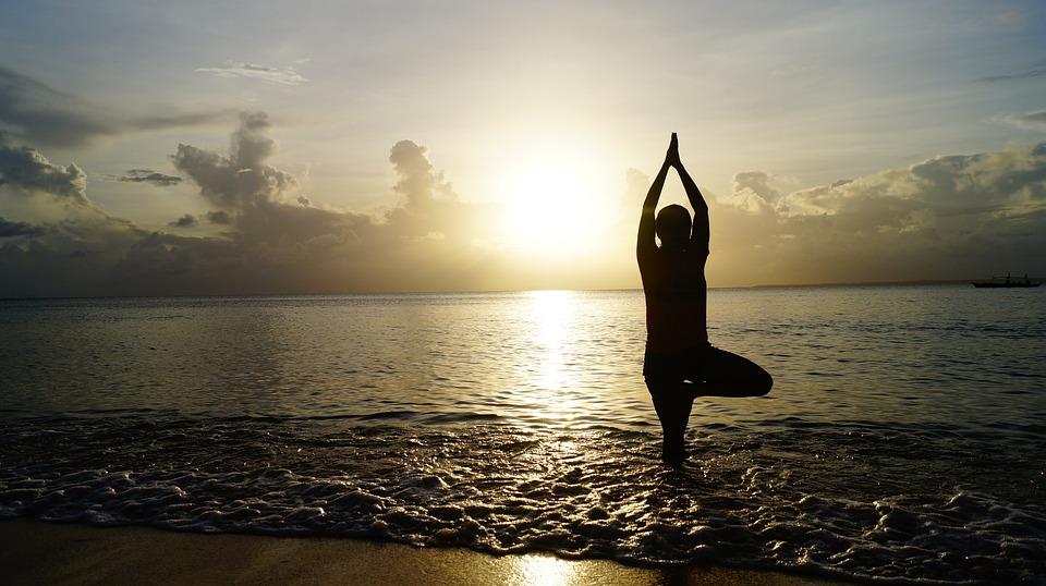 Plage, Coucher De Soleil, Yoga, Méditer, Méditation