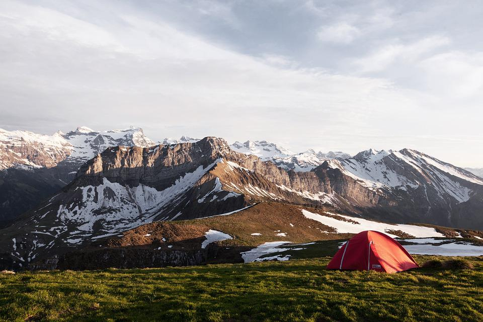Camping, Cold, Grass, Landscape, Mountain Range
