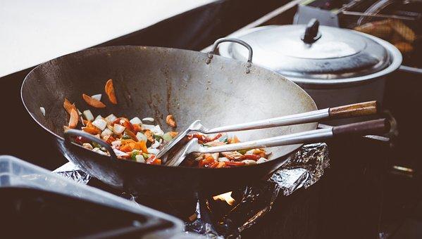 料理, 中華鍋, 中国語, アジア, 食品, フライパン, 食事, パン, 野菜
