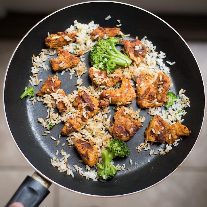 ブロッコリー, 鶏肉, 料理, おいしい, 夕食, 皿, 食品, フライパン, 残り物, 昼食, 食事, 米