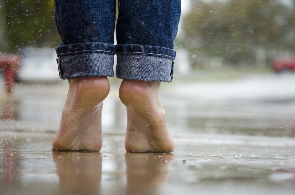 Barefoot, Feet, Macro, Outdoors, Rain, Water, Wet