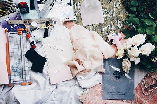 布, ファブリック, ファッションデザイン, テーブル, 仕事