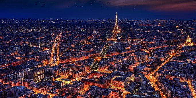 Paris France Eiffel Tower Night Night Pari