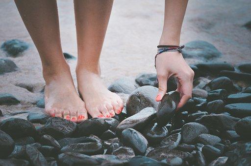 Beach Feet Hand Pebbles Sand Seashore Ston