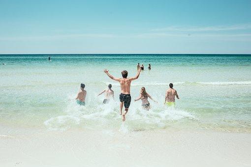 ビーチ, 海, 実行している, 海岸, スプラッシュ, 水, 入浴, 人