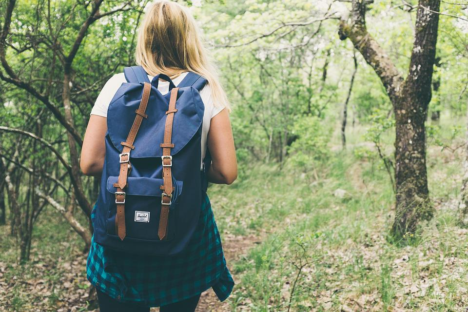 Backpack, Bag, Woman, Girl, Female, Forest, Lady