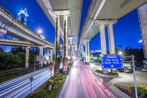 Bridge, Flyover, Highway, Lights, Motion
