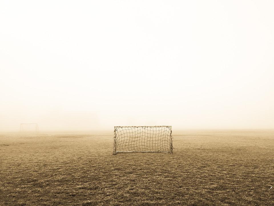 Deserted, Field, Fog, Football, Goal, Grass, Mist, Net