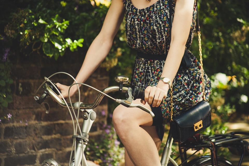 Велосипед, Случайни, Мода, Модел, Открит, Човек, Рокля
