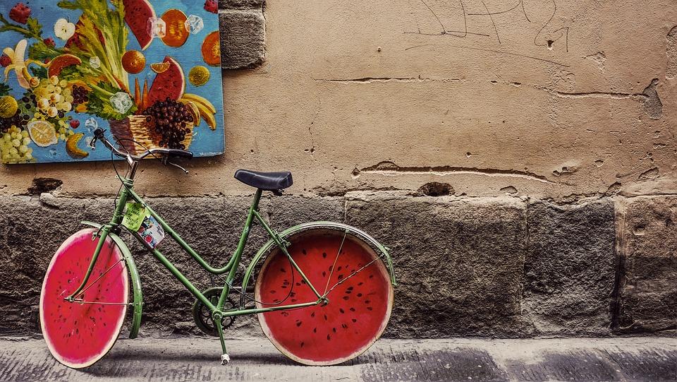 自転車, 古典的な, 古い, レトロ, ビンテージ, ホイール
