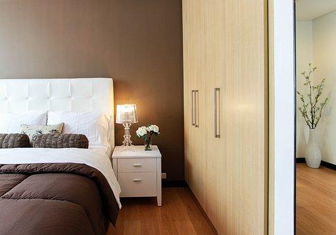 ベッド, ベッドルーム, クローゼット, 家具, ランプ, 光
