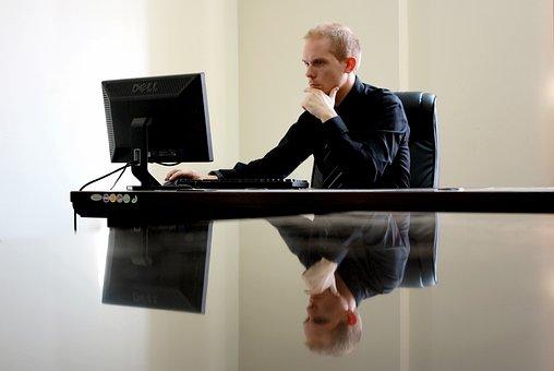 ビジネス, 実業家, 椅子, コンピュータ, デスク, デスクトップ, 起業家