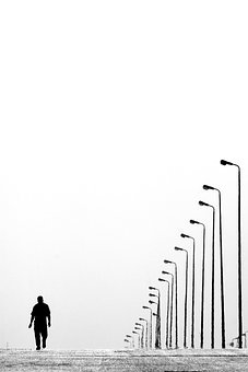 Alone, Lampposts, Lamps, Man, Road