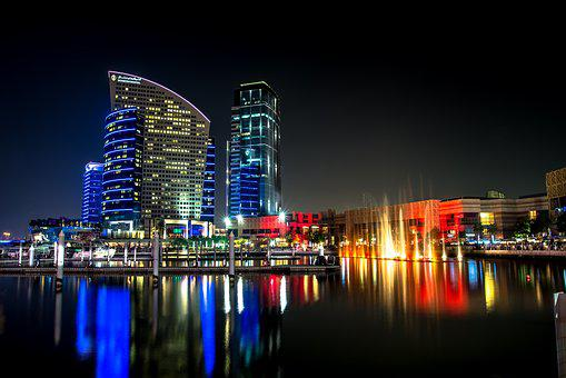 Buildings, City, Dubai, Lake, Night