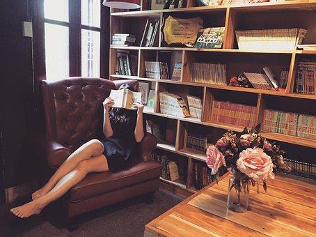女性, 読書, ソファ, 書籍, 女の子, ライブラリ, 棚, インテリア