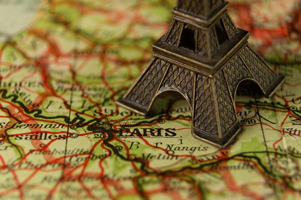 Eiffeltornet, Frankrike, Landmärke, Karta, Miniatyr