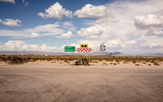 Clouds, Mountains, Road, Signs, Sky