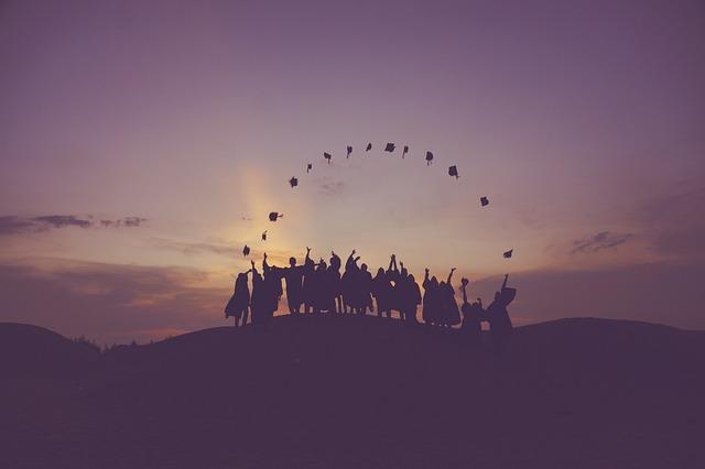 日の出, 卒業生, 投帽子, 夕暮れ, 人, シルエット, 学生, 成功, 日没