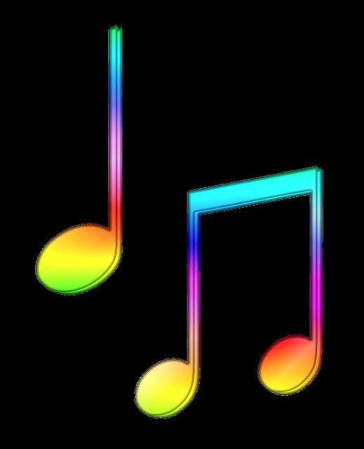 Разноцветные ноты картинка