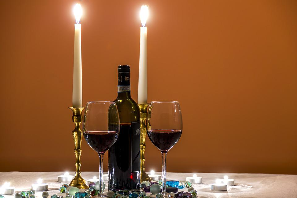 Beauty, Bottle Of Wine, Candlelight, Candles, Closeup
