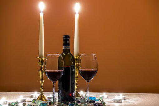Beauty, Bottle Of Wine, Candlelight