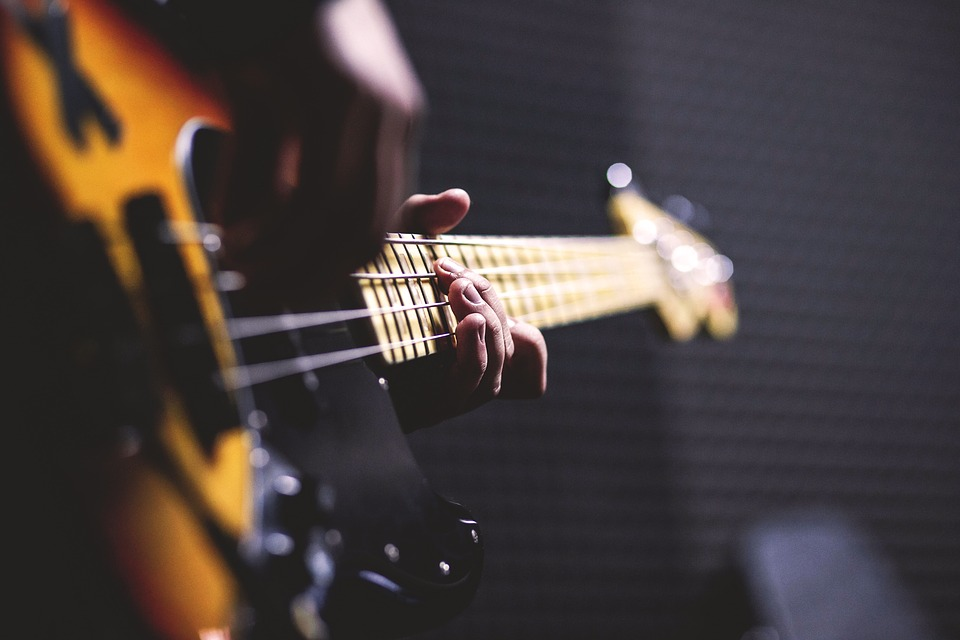 Bass Guitar, Chord, Close-Up, Electric Guitar, Fingers