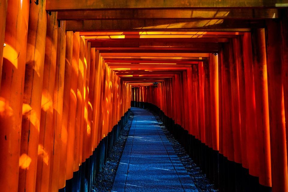 Japón, Templo, Arquitectura, Túnel, Pasillo, Interior