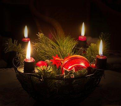 Christmas, Candles, Fir Green, Advent