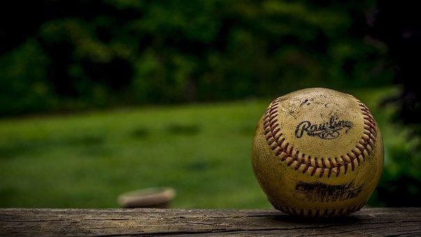 ボール, 野球, クローズ アップ, 汚い, マクロ, 野球, 野球, 野球
