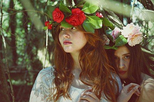 Bela, Flora, Flores, Modelos, Pessoas