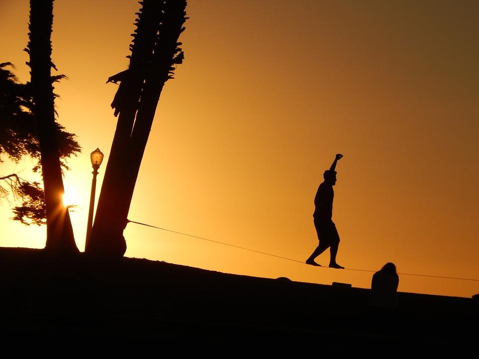 Zonsondergang, Koord, Tegenlicht, Schaduw, Evenwicht