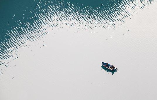 Barco De Pesca, Peixes, Lago, Bergsee