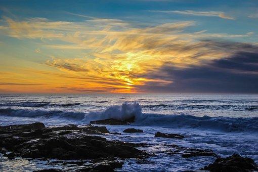 Ωκεανών, Θάλασσα, Ηλιοβασίλεμα, Κύματα