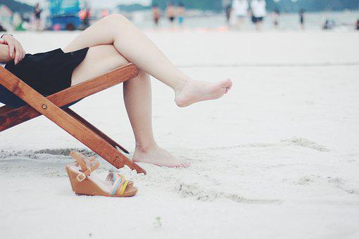 Beach, Beach Chair, Feet, Female
