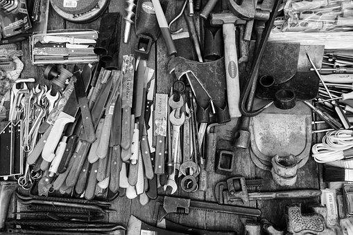 ツール, ナイフ, 黒と白, 切削工具, ドリル, ガーデニング, 灰色の庭