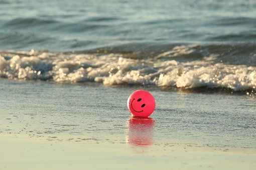 Ball, Beach, Happy, Ocean, Pink, Smile