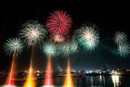 boat dubai fireworks marina night