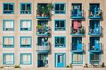 apartamenty, architektura, balkony