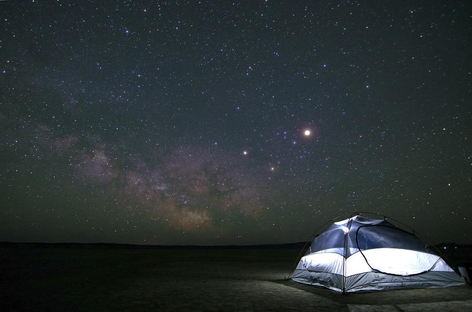キャンプ, 星座, コスモス, 暗い, 探査, 銀河, 泊, 空, 星, テント