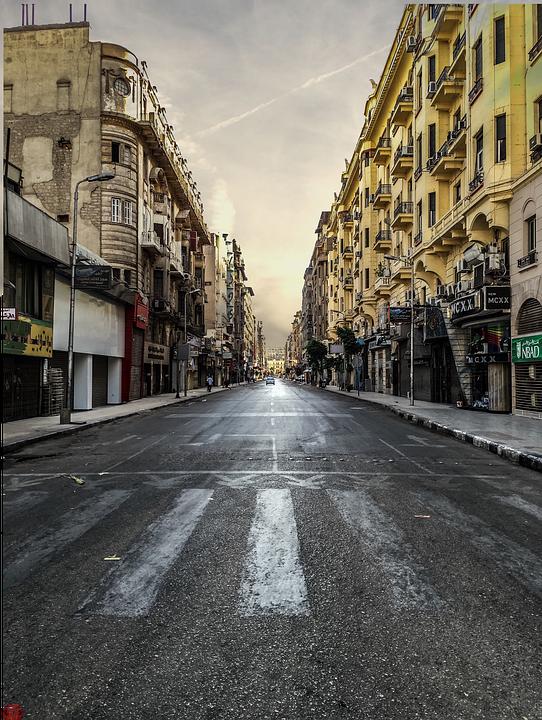 Arquitectura, Avenida, Edificios, Ciudad, Pavimento
