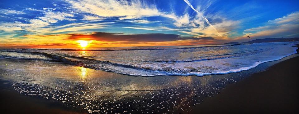 Beach, Solnedgång, Panorama, Strand, Havsstranden, Kust
