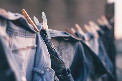 ぼかし, 市, 服のライン, 服をピン, デニム, 被写し界深度, 乾燥ハング