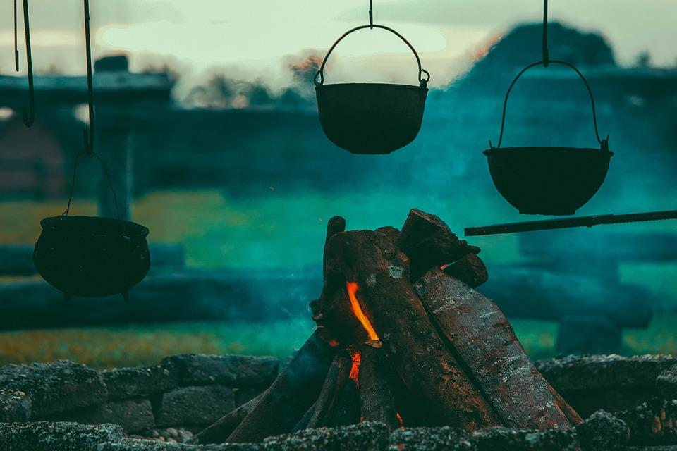 campfire and cooking pot