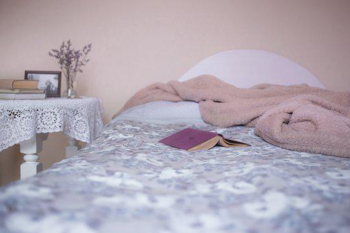Bed, Bedroom, Blanket, Books, Cover