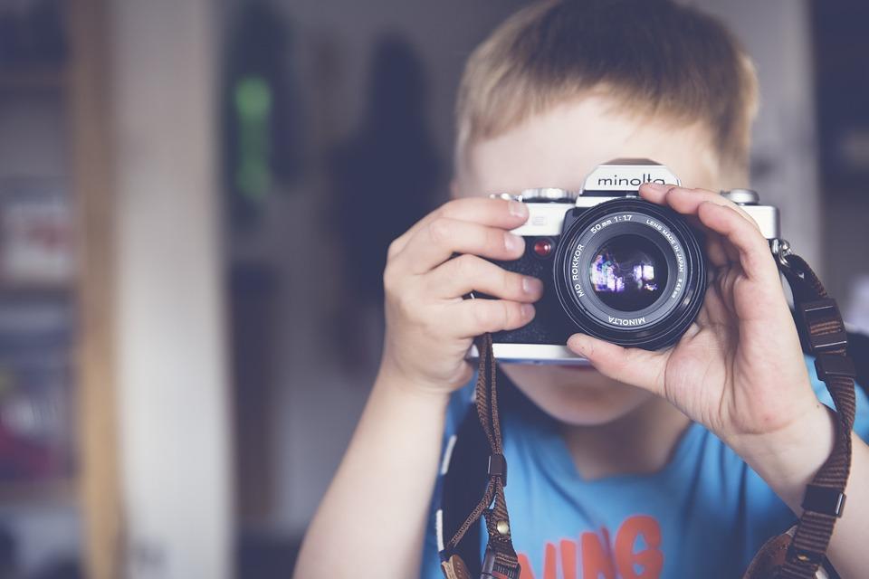 Menino, Fotógrafo, Câmera, Criança, Lente, Minolta